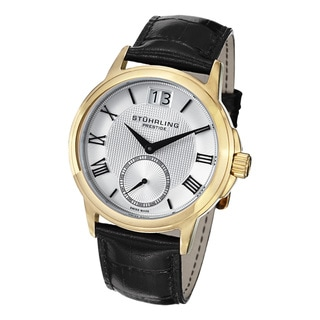 Stuhrling Prestige Men's Noble Swiss Quartz Leather Strap Watch