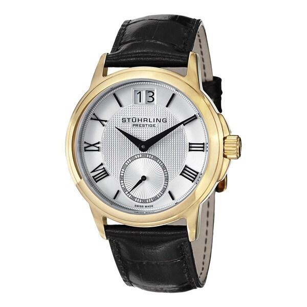 Stuhrling Prestige Men's Noble Swiss Quartz Leather Strap Watch