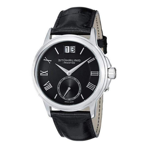 Stuhrling Prestige Men's Noble Swiss-Quartz Leather-Strap Stainless Steel-Bezel Watch