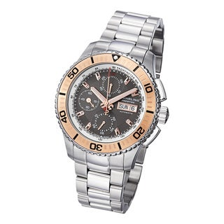 Stuhrling Prestige Men's Regatta Victoire Automatic Stainless-Steel Bracelet Watch with Rose-Tone Bezel