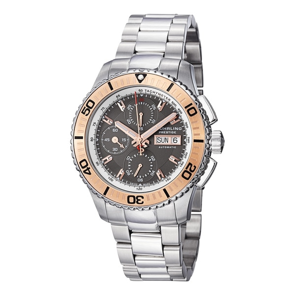 Stuhrling Prestige Men's Regatta Victoire Automatic Stainless-Steel Bracelet Watch with Rose-Tone Bezel