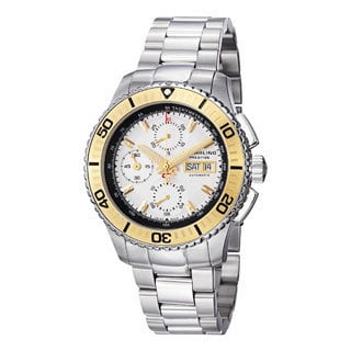 Stuhrling Prestige Men's Regatta Victoire Automatic Stainless Steel Bracelet Watch with Goldtone Bez