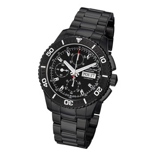 Stuhrling Prestige Men's Regatta Victoire Automatic Stainless-Steel Bracelet Watch with Black Bezel and Strap