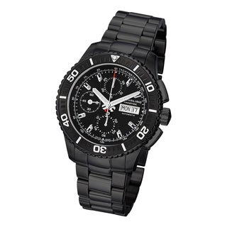 Stuhrling Prestige Men's Regatta Victoire Automatic Stainless Steel Bracelet Watch with Black Bezel