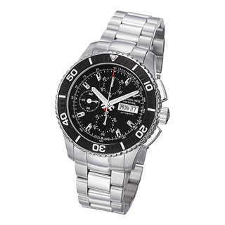 Stuhrling Prestige Men's Regatta Victoire Automatic Stainless-Steel Bracelet Watch with Black Bezel