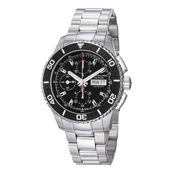 Stuhrling Prestige Men's Regatta Victoire Automatic Stainless Steel Bracelet Watch with Black Bezel