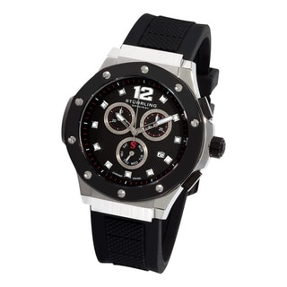 Stuhrling Original Men's Apocalypse Triumphant Swiss Quartz Black-Dial Rubber Strap Watch