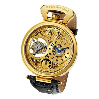Stuhrling Original Men's Sovereign Tourbillon Mechanical Crocodile Strap Watch