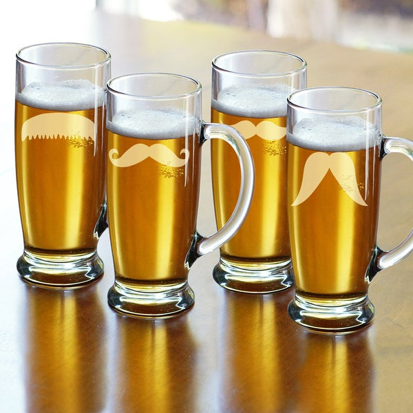 Gentleman's Mustache Craft Beer Mugs (Set of 4)