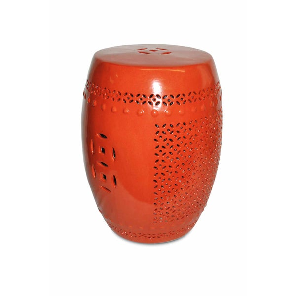 Pierced Orange Porcelain Garden Stool