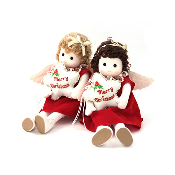Christmas Red Angel Collectible Musical Doll Set