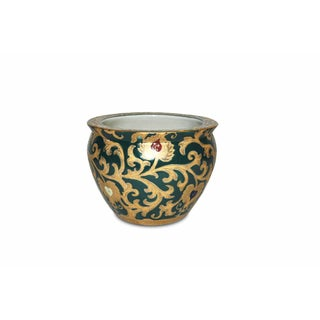 Scrolls Green/ Gold Porcelain Fishbowl