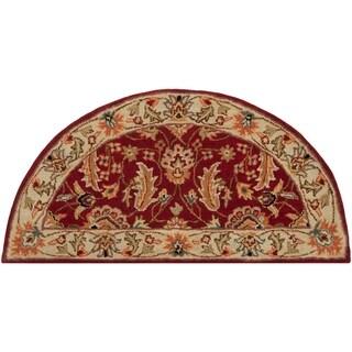 Hand-tufted Schertz Red Wool Area Rug - 2' x 4' Hearth