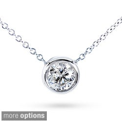 Annello 14k Gold Moissanite Solitaire Necklace