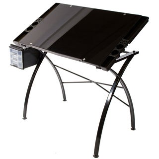 Martin Dezign Black Glass Top Drawing Table