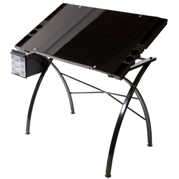 Martin Universal Design 'Dezign' Black Glass Top Drawing/Drafting and Hobby Craft Table