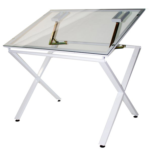 Martin Universal Design X-Factor Drawing and Hobby Glass Top Craft Table