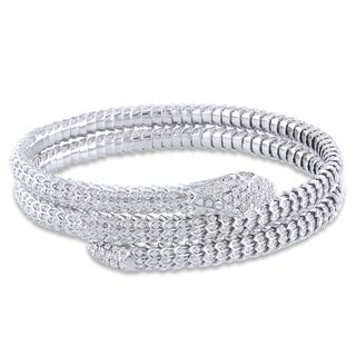 Miadora 14k White Gold 7 1/5ct TDW Diamond Bangle (G-H, SI1-SI2)