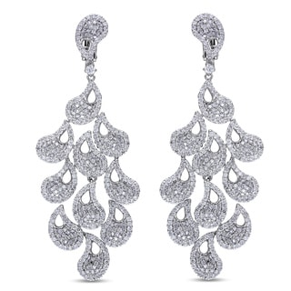 Miadora Signature Collection 14k White Gold 4 1/2ct TDW Diamond Vintage Drop Earrings (G-H, SI1-SI2)