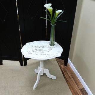 Vintage Cream Krista Script Pedestal Table