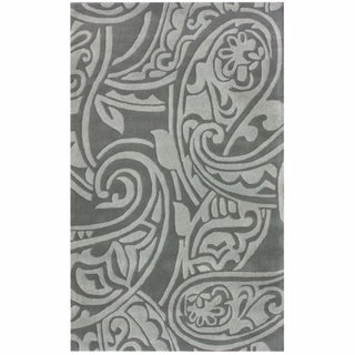 nuLOOM Handmade Paisley Grey New Zealand Wool Rug