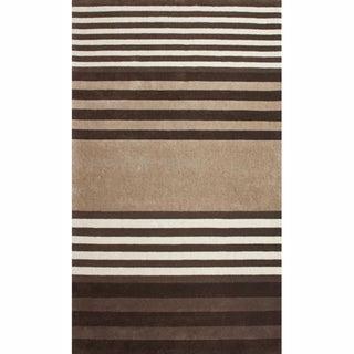 nuLOOM Handmade Stripes Brown Faux Silk / Wool Rug