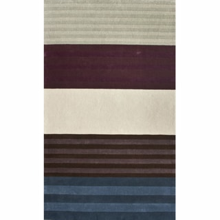 nuLOOM Handmade Stripes Multi Faux Silk / Wool Rug