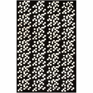 nuLOOM Handmade Pixels Black New Zealand Wool Rug