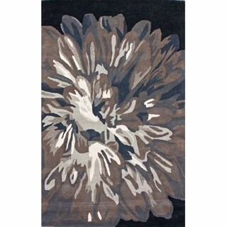 nuLOOM Handmade Floral Black Wool Rug