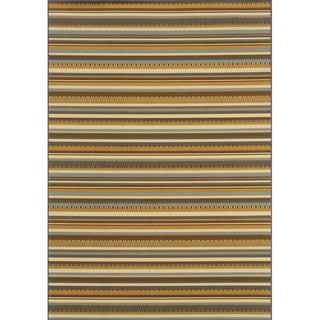 Outdoor/Indoor Grey/Gold Striped Area Rug