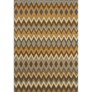 Outdoor/ Indoor Grey/ Gold Area Rug