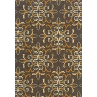 Outdoor/Indoor Grey/Gold Floral Area Rug