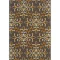 Outdoor/Indoor Grey/Gold Floral Area Rug