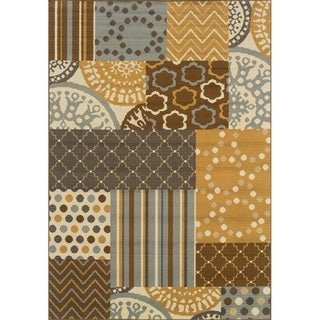 Outdoor/Indoor Grey/Gold Geometric Area Rug