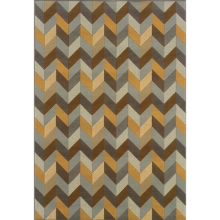 Outdoor/Indoor Grey/Gold Abstract Area Rug