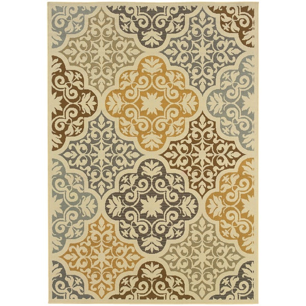 Outdoor/Indoor Ivory/Grey Synthetic Area Rug