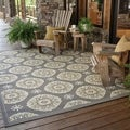 Outdoor/ Indoor Grey/ Gold Area Rug