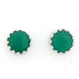 Meredith Leigh Sterling Silver Green Onyx Crown Stud Earrings