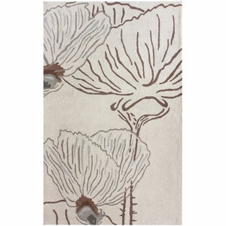 nuLOOM Handamde Floral Natural New Zealand Wool Rug