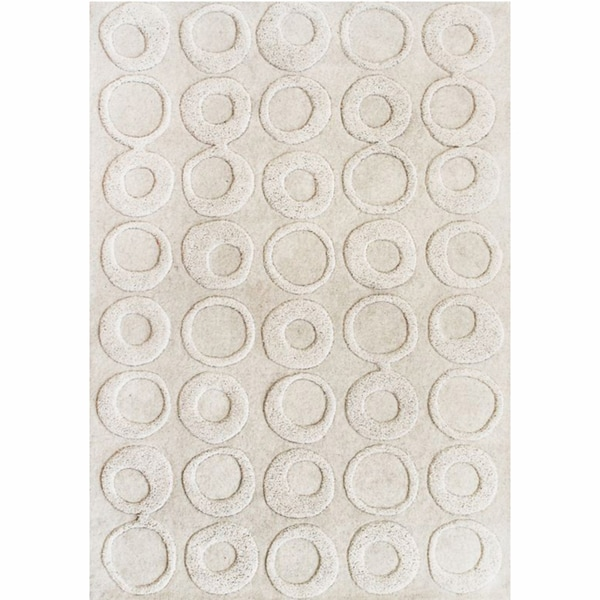 nuLOOM Handmade Circles Ivory New Zealand Wool Rug