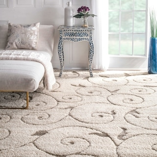 nuLOOM Soft and Plush Vine Swirls Ivory/ Beige Shag Area Rug