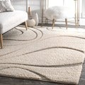 nuLOOM Soft and Plush Curves Ivory/ Beige Shag Area Rug