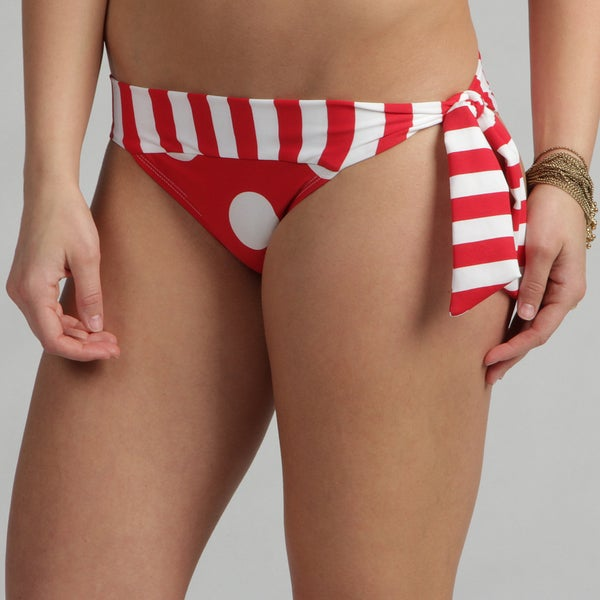 Poko Pano Women's Red and White Polka Dot Hipster Swim Bottoms