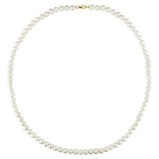 M by Miadora 10k Gold White Cultured Freshwater Pearl Necklace (5-6 mm)