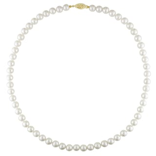 Miadora 14k Yellow Gold White Akoya Pearl Necklace (5.5-6 mm)