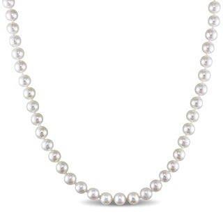 Miadora 14k Yellow Gold White Cultured Akoya Pearl Necklace (5.5-6 mm)