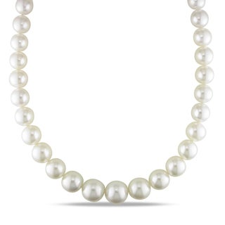 Miadora Signature Collection 14k Gold South Sea Pearl and Diamond Necklace (12-16 mm)