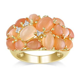Miadora Yellow-plated Silver Orange Moonstone and Diamond Accent Ring