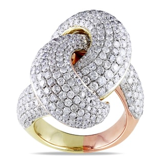 Miadora 14k Two-tone Gold 4 1/2ct TDW Crisscross Ring (H-I, SI1-SI2)