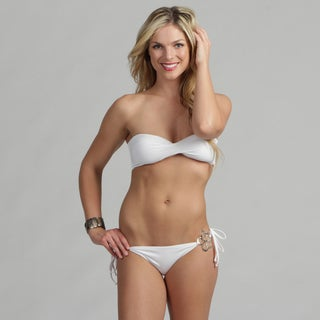 Poko Pano Junior's White Flower Hardware Twist Bandeau Bikini Set